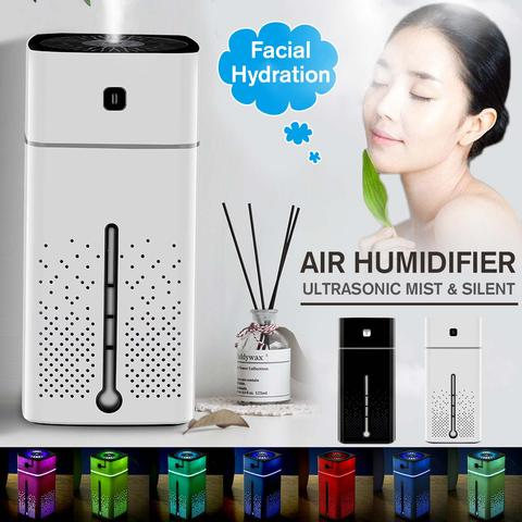 Woman enjoying a facial with Air Humidifier 7 Colors Night Light Large Capacity for Office Home