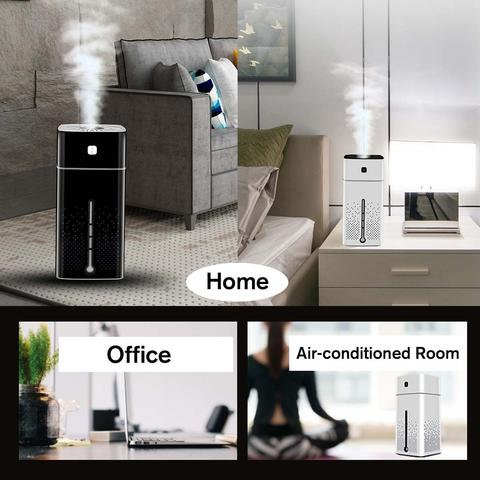 Air Humidifier 7 Colors Night Light Large Capacity for Office Home Baby room - white