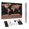 Large Size Scratch Off World Travel Map Premium Personalized Wall Sticker Poster All Country Flags Gift Package for Travelers 1